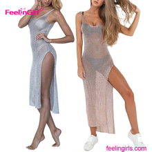 Customized Factory Price See Through Silver Sleeveless Sexy Club Wear Womans Mesh Dress