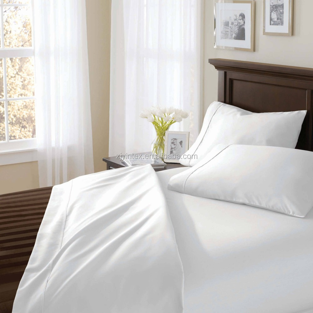 White Plain Dyed 100% Cotton feel cheap Microfiber Bed Sheet Sets Bedding sets for home hotel
