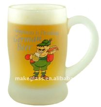 frosted glass beer mug,glass cofffee mug with handle,glass drinking cup