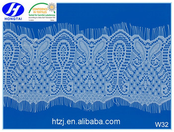 New design White Eyelash lingerie stretch elastic lace cotton sarees for women wedding dress