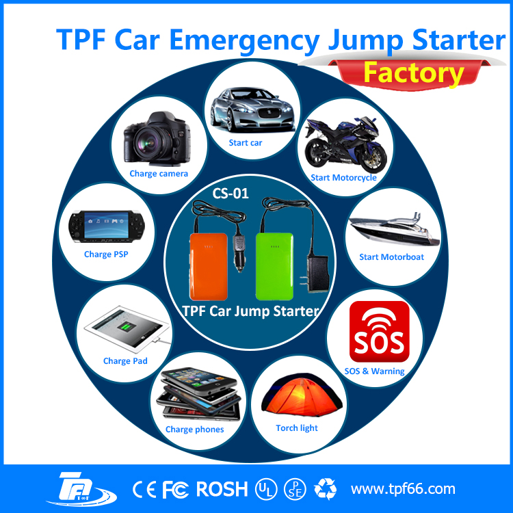 TPF power bank charger 8000mah portable car jump starter with LED light SOS