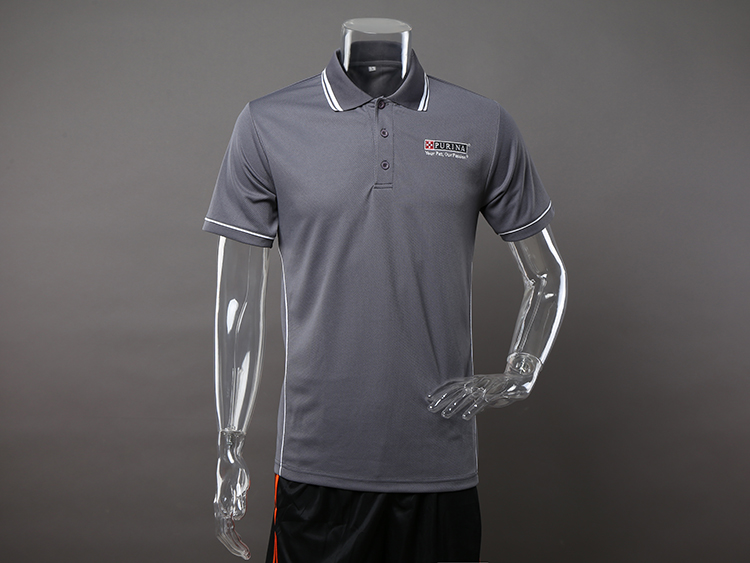 Custom Grey Golf Polo Shirt with Embroidery Logo for Men