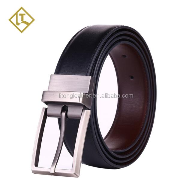 Custom logo metal belt Fashion Leather Men Buckle Adjustable Leather Belt