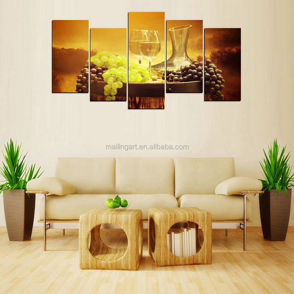 5 Panel Wall Art Wine Grape Canvas Painting For Kitchen Restaurant ...