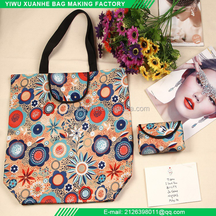 Fashion wallet style nylon folding shopping tote waterproof bag