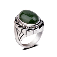 Gothic Precious Gemstone Rings Smokey Oval Cabochon Jade Statement Engagement Finger Rings For Women And Men
