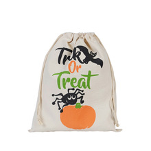 Wholesale custom Christmas gift bag cheap eco white cotton canvas muslin fabric kids drawstring bag