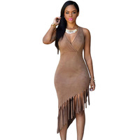 Brown Faux Suede Fringe Ault Lady Girls Birthday Party Dress