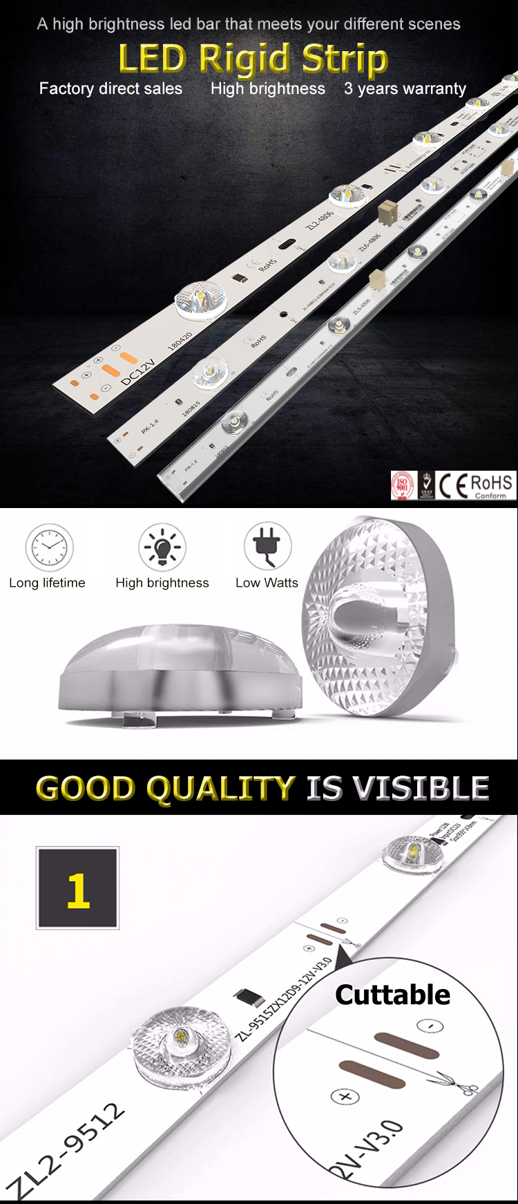 Customizable 12v Diffuse reflection cuttable Aluminum Smd 2835 led strip
