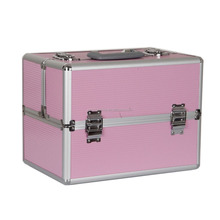 Pink Large Aluminum Beauty Case Cosmetic Makeup Hair Vanity Salon Carry Case