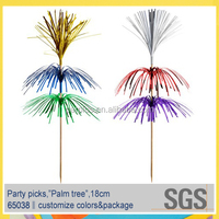 3 layers palm tree decorative metallic cocktail party food picks