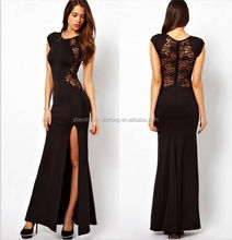Ladies Lace Long Bodycon Evening Cocktail Fashion Dress Cut Out Black Red 8 10 12