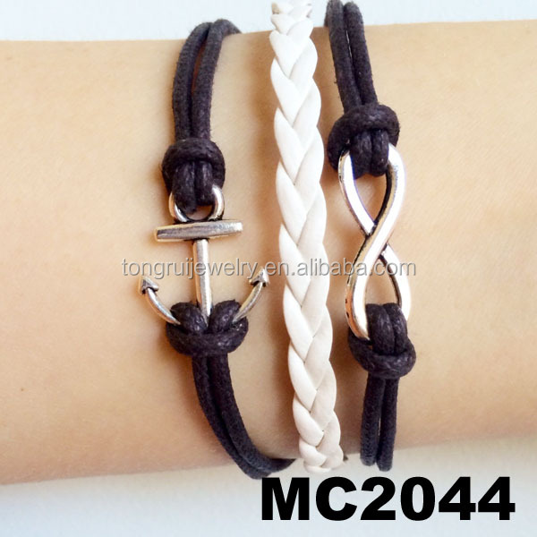 anchor nautical rope bracelet leather anchor bracelet