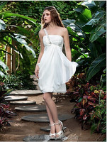 New Arrival Summer One Shoulder Beaded Chiffon Tight Sexy Short Wedding Dresses
