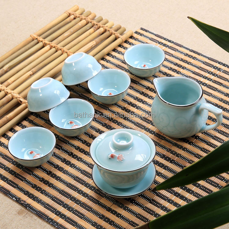 Chinese porcelain tea set 8 in 1 with dark fringe golden fish design in blue colour QFCB-61-2