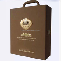top quality 2 bottles faux leather bottle carrier wholesale with custom logo printed