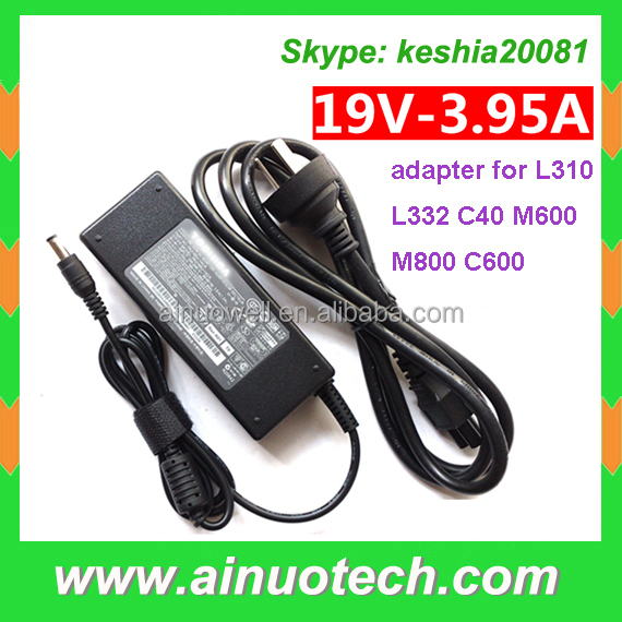 laptop battery charger for Toshiba laptop L310 L332 C40 M600 M800 C600 19V 3.95A ac adapter