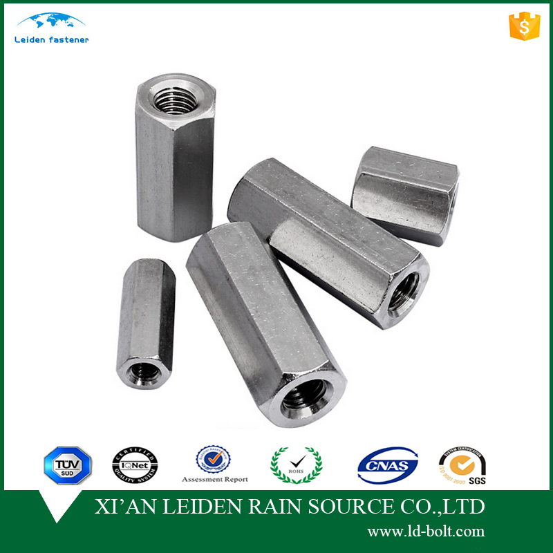 stainless steel material hex long nut for threaded rods