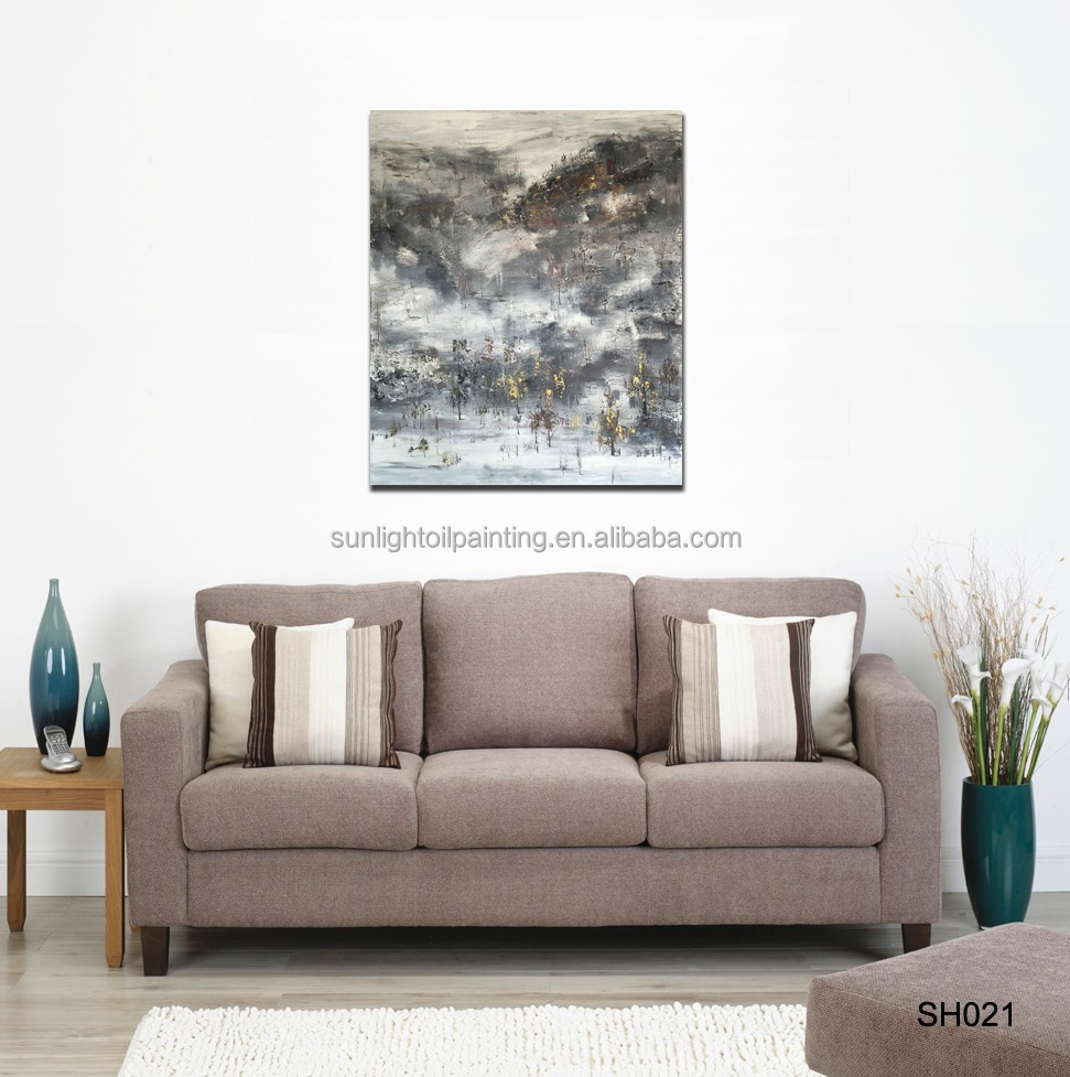 SH021 Home Decoration Handmade Snowscape painting Art Wall Oil Painting on canvas
