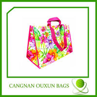 eco friendly laminated pp woven decorative reusable shopping bag