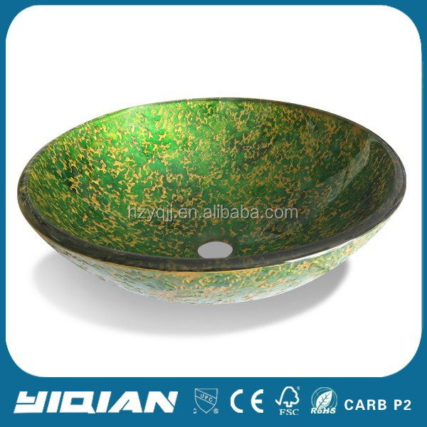 Colourful single hole tempered round glass wash hand basin