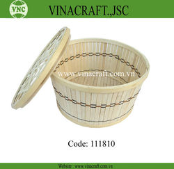 Nice fruit bamboo chip basket with lid for kitchen