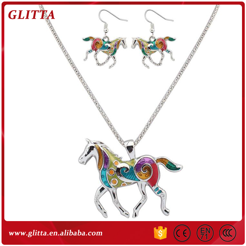 YX165 2017 spring and summer new jewelry set fashion dripping rainbow horse color necklace earrings sets for women