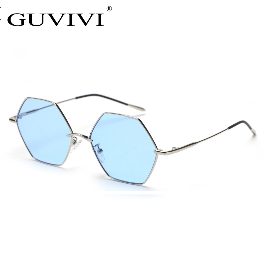 GUVIVI Luxury ocean color Simple sunglasses fashionable Hexagon sunglasses OEM sunglasses with metal frame