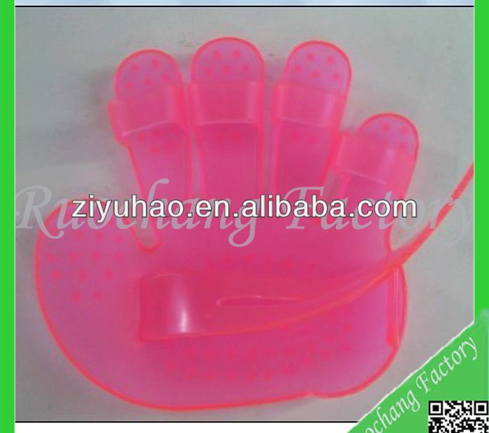 PVC massage glove/palm plastic handheld massager/pink hair shampoo scalp head massager brush