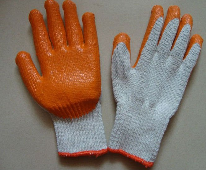 latex coating glove with cheap price/latex coated cheap working gloves/orange,green,black,grey,blue