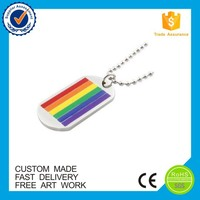 Promotional gift rainbow design colorful military custom metal dog tag