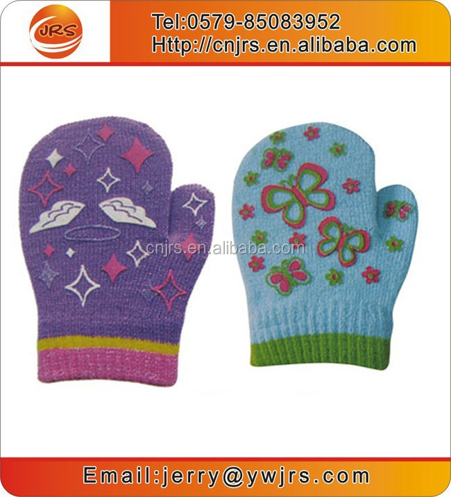 Latex kids cute ski gloves,winter warm gloves with rubber printing