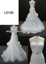 sweetheart applique lace ruffle gown custom made wedding dress with crystal belt L0108