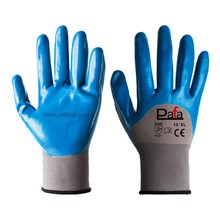 13G seamless grey polyester oil resistant blue nitrile gloves