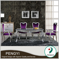 European style sectional dining table with fabric chairs for dining room sets t Pk310