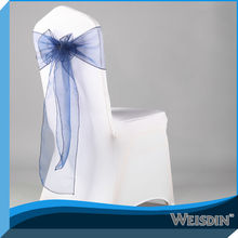 Weisdin high quality fabric chair cover for bentwood chair seat decored with organza sash in 2014