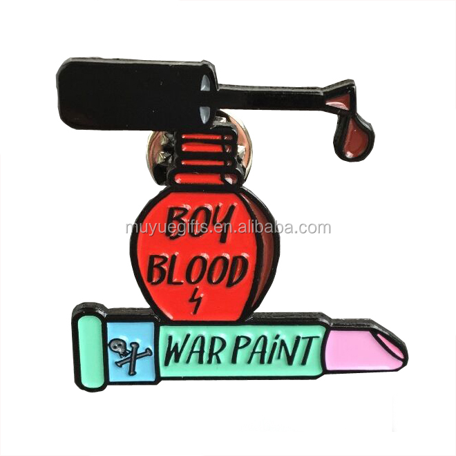 Custom Making Metal Soft Enamel Pink Lipstick Lapel Pin For Sales