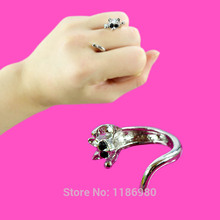 Fashion Chic Cat Animal Silver Plated Crystal Black Eyes Kitten Finger Ring