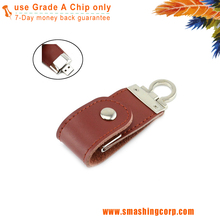 red ultra portable Mini PU Leather USB Flash Drive Fair Price with Genuine Capacity