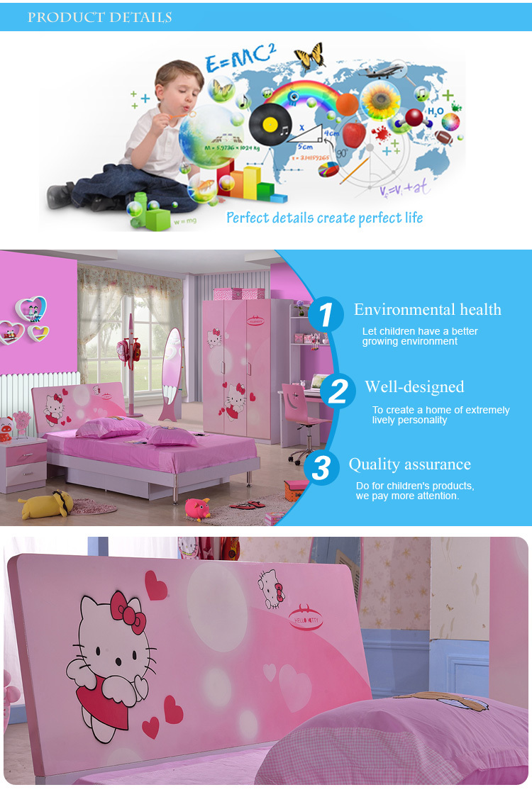 8863# Hello Kitty girls bedroom used kids bedroom set