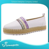 Women multi sequin-embellished flat espadrille shoes ladies slip on white color flat shoes