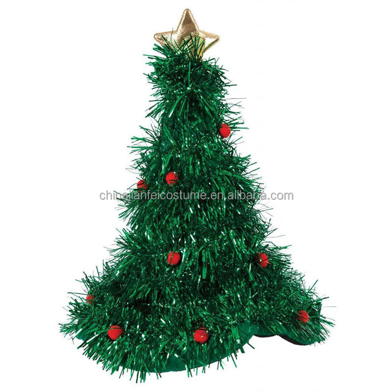 Christmas Tree Hat With Tinsel Fancy Dress Santa Xmas Dress Up Party Hat