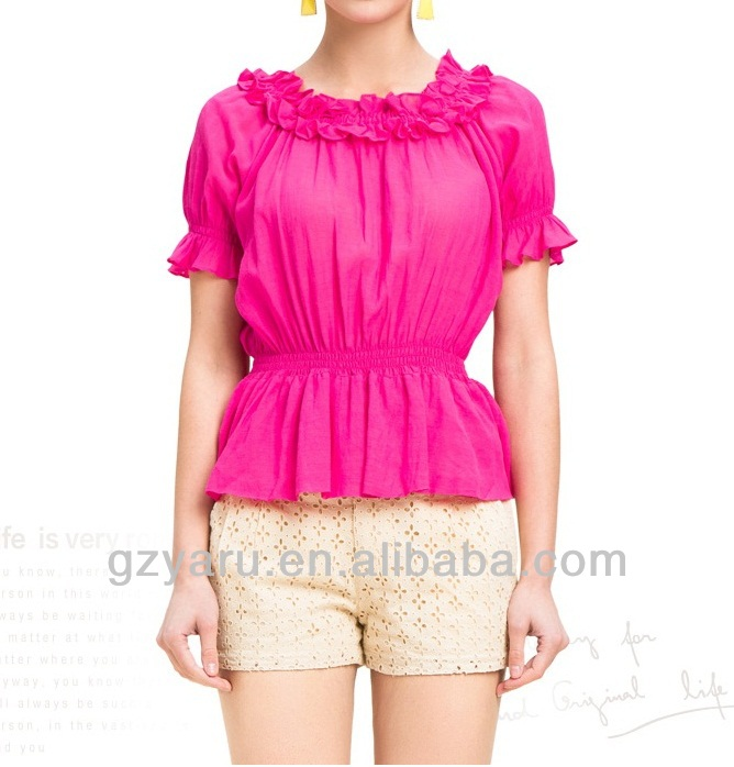 dressy fishtail fashion army green fuschia chiffon blouse batik