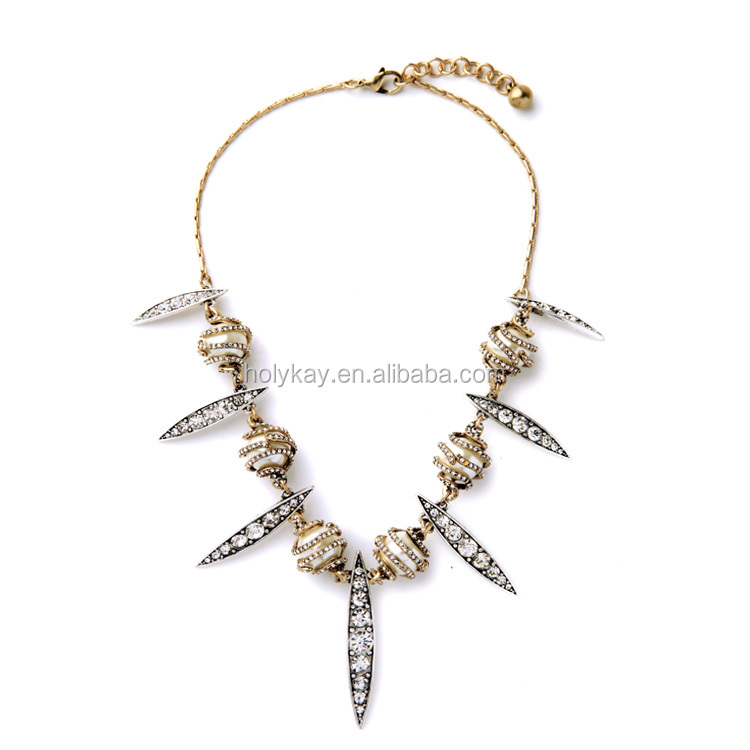 Wholesale fashion women jewellery, 2016 trendy fashion elegant crystal charms necklace