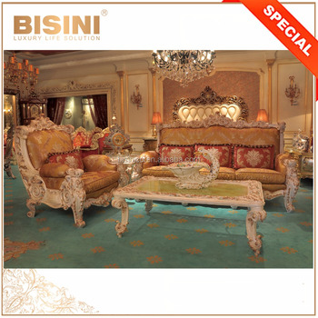 European Palace Style Elaborate Carving Sofa Set with Strong Arm and Large Seat
