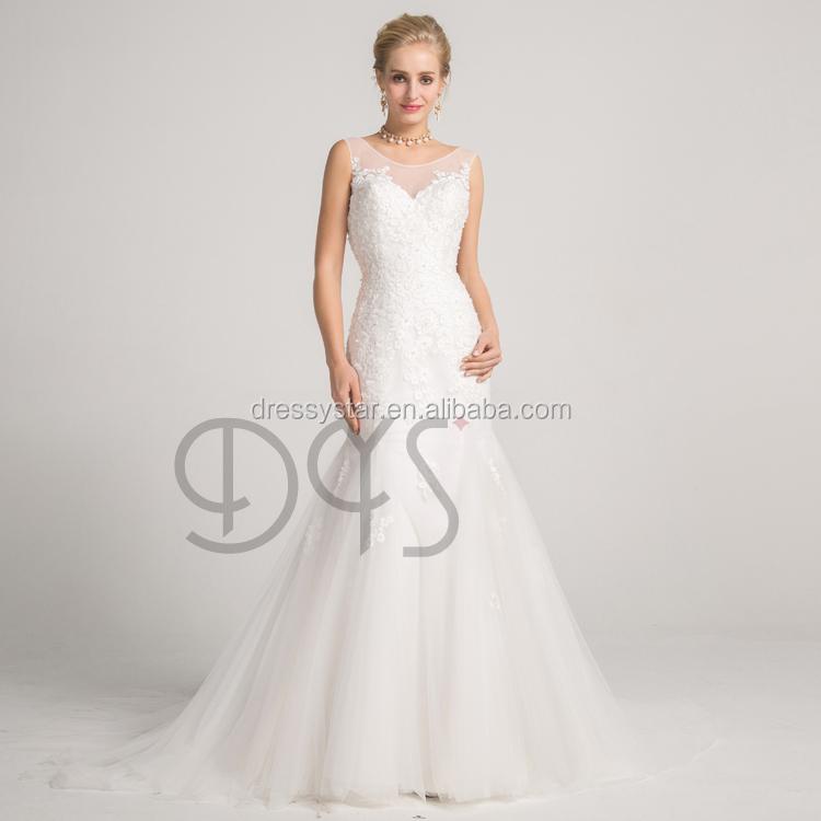 Alibaba 2018 Mermaid Bridal Illusion Neckline Backless Lace Wedding