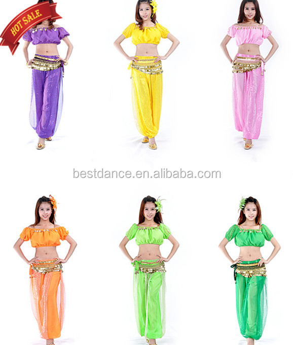 BestDance Women Sexy Arabic Belly Dance Dancing Short Sleeve Top, Belt and Pants Trouser Set Dancer Costumes Outfit OEM