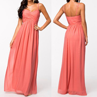 Wholesale china factory fashion spaghetti strap sexy chiffon pink evening dresses turkey