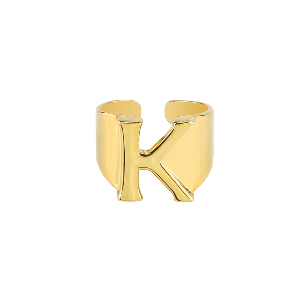 26 Letter A B C D E F G H I G K L M N O P Q R S T U V W X Y <strong>Z</strong> 18K Real Gold Plated Adjustable Size Alphabet Letter Rings
