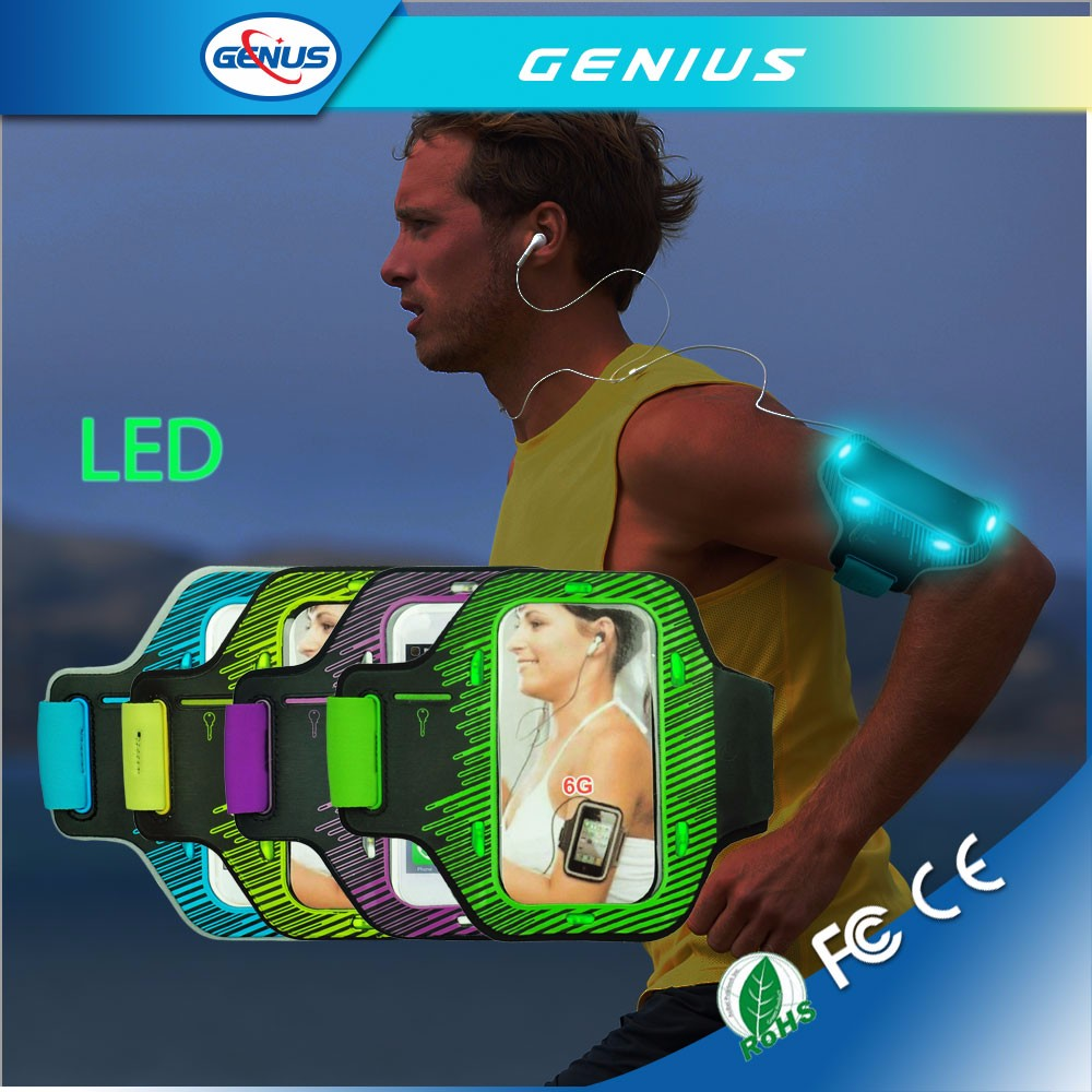 Neoprene Customize Logo Printed Sports LED Reflective Armband
